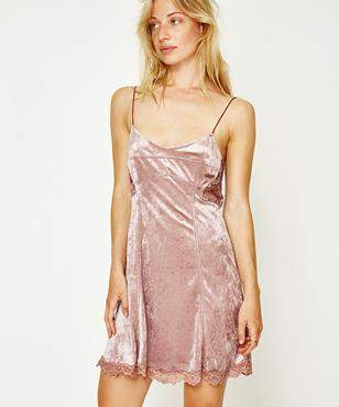 Free People Cheeky Velvet Mini Mauve