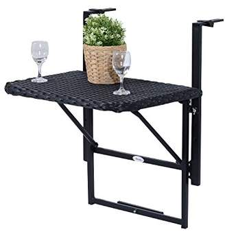 Outsunny Balcony Wall Mounted Table, Balcony Table, Wall Mounted Table, Balcony Folding Table, Balcony Furniture, Poly-rattan And Metal, Black, 58 x 55 x 64 cm