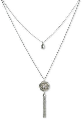 """Lucky Brand Silver-Tone Pave Openwork & Chain Tassel Double-Layer 28-1/2"""" Pendant Necklace"""