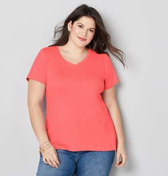 Avenue Plus Size Solid V-Neck Tee