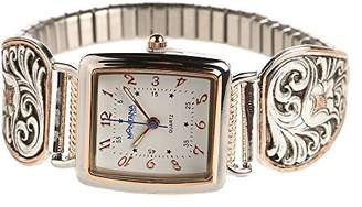 Montana Silversmiths Women's Time' Quartz Stainless Steel and Leather Dress Watch