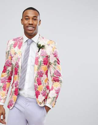 Asos Design Wedding Super Skinny Blazer In Pink Floral Print
