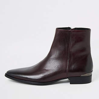 River Island Dark red leather pointed boots