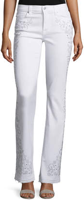 7 For All Mankind Tailorless Boot-Cut Jeans W/Released Hem (Shorter Inseam), White