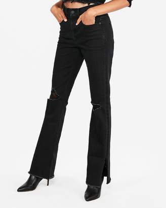 Express Black High Waisted Stretch Ripped Barely Boot Jeans