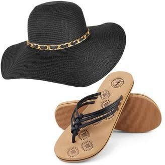 AERUSI Mrs. Wickman Women's Floppy Straw Sun Hat and Foam Flip Flop Sandals Set US Women's Shoe Sizes 7-10