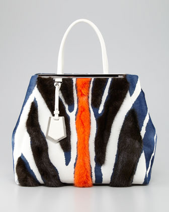Fendi 2Jours Zebra-Print Fur Tote Bag, Multicolor