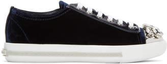 Miu Miu Blue Bejewelled Velvet Sneakers