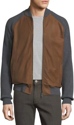 Ermenegildo Zegna Cashmere & Lambskin Leather Zip-Front Cardigan