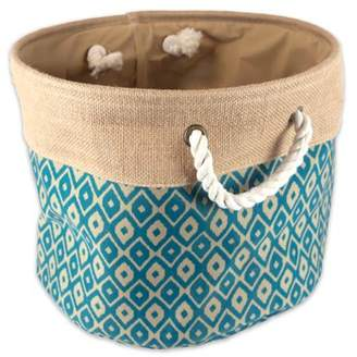 """DII Collapsible Burlap Storage Basket or Bin with Durable Cotton Handles, Home Organizational Solution for Office, Bedroom, Closet, Toys, & Laundry (Medium Round- 15x12""""), Teal Ikat"""