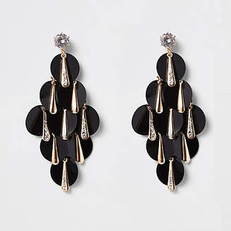 River Island Gold tone black sequin layered earrings