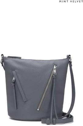 8c9102b7f1a Mint Velvet Womens Grey Eden Steel Zip Bucket Bag - Grey