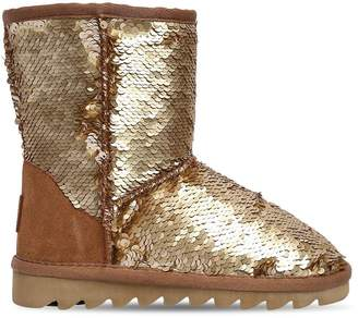 Colors of California Sequined Canvas & Suede Boots