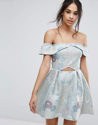 Missguided Brocade Off The Shoulder Skater Dress
