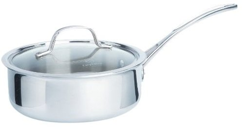 Calphalon 2-1/2 Quart Tri-Ply Shallow Sauce w/ Cover, Stainless Steel