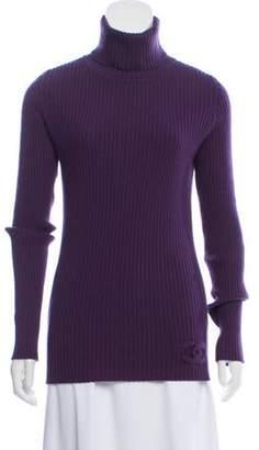 Chanel Cashmere Turtleneck CC Sweater Purple Cashmere Turtleneck CC Sweater