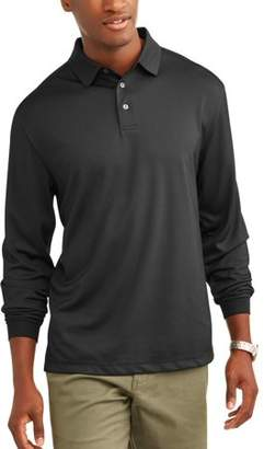 Hogan Ben Men's Performance Long Sleeve Solid Golf Polo Shirt, up to Size 5XL
