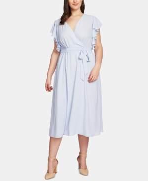1 STATE 1.State 1.state Plus Size Flounce-Sleeve Wrap Midi Dress