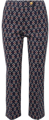 Tory Burch Sara Printed Jersey Tapered Pants - Navy