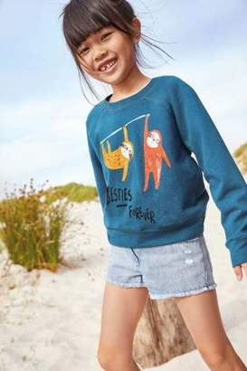 Next Girls Blue Sloth Sweater (3-16yrs)