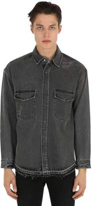 The Kooples Distressed Raw Cut Oversize Denim Shirt