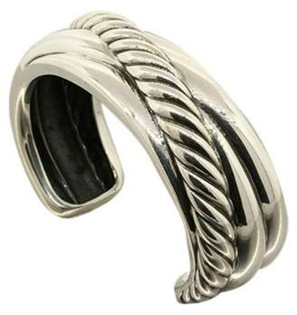 David Yurman Sterling Silver Large Sculpted Cable Wide Crossover Cuff Bracelet