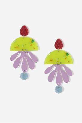 Topshop Glitter Resin Abstract Leaf Earrings