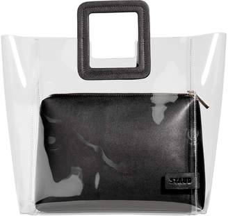 clear Staud Shirley PVC and Leather Tote Bag