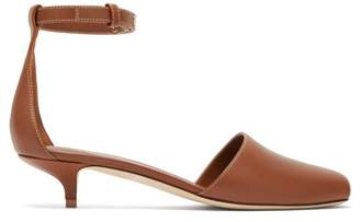Burberry Stadling Peep Toe Leather Pumps - Womens - Tan