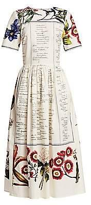 Oscar de la Renta Women's Floral & Cursive Print Midi A-Line Dress