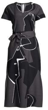 Lafayette 148 New York Women's Cosimia Portrait Print Dress - Pewter Multi - Size XS