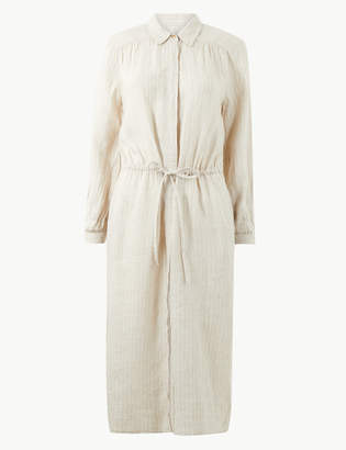 Marks and Spencer Pure Linen Striped Midi Shirt Dress