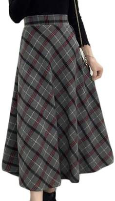 Frieed Womens Winter Woolen High Waisted Plaid Check Swing Skirts L