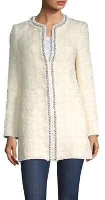Alice + Olivia Andreas Pearl-Embellished Tweed Jacket
