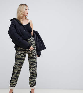 Missguided Tall cargo pant with side stripe in green camo