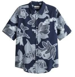 MANGO MAN Regular-fit printed linen shirt