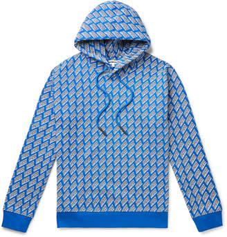 McQ Logo-Print Loopback Cotton-Jersey Hoodie - Men - Blue