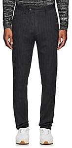 John Varvatos Men's Pinstriped Crinkled Cotton-Wool Trousers - Dark Gray
