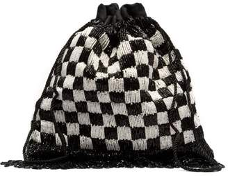 0c4ca62d38af STAUD Gabbi Check Beaded Drawstring Pouch - Womens - Black White