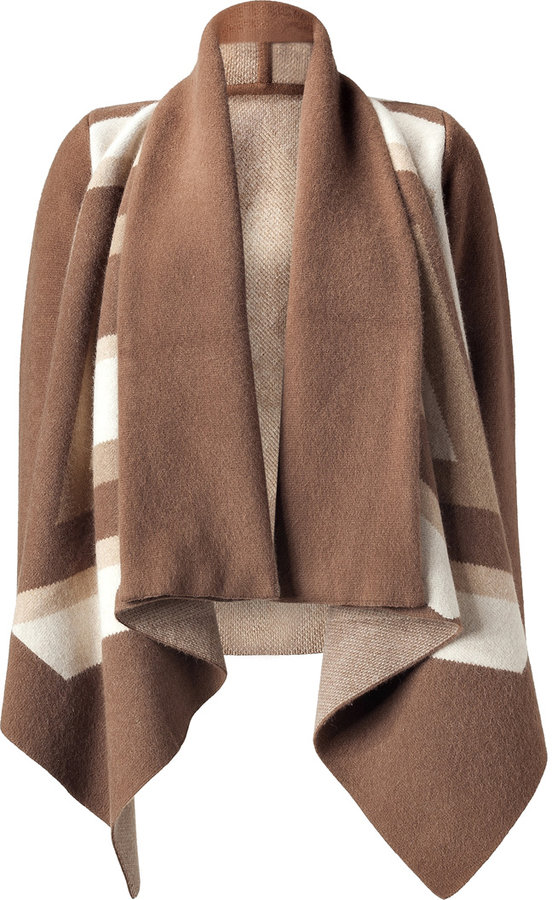 Pringle of Scotland Oak/Camel Jacquard Poncho Style Jacket