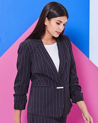 Fashion World Black Pinstripe Blazer
