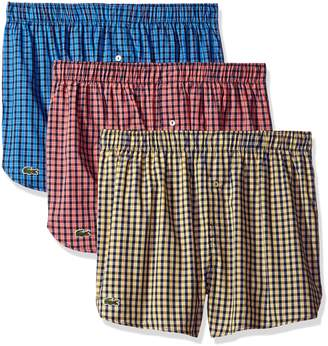 Lacoste Men's Authentics 3-Pack Gingham Boxer