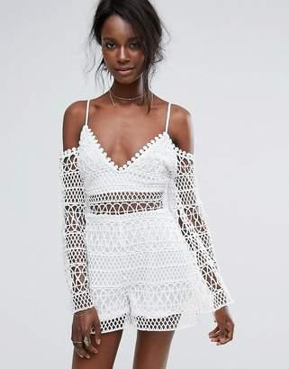 Missguided Crochet Cold Shoulder Romper $64 thestylecure.com
