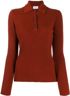 Salvatore Ferragamo ribbed long-sleeved knitted polo shirt