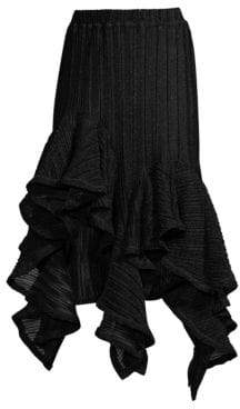 Romance Was Born Pleated Ruffle Handkerchief Hem Midi Skirt