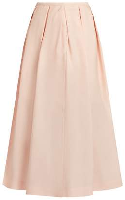 Rochas Pleated crepe-gazar midi skirt