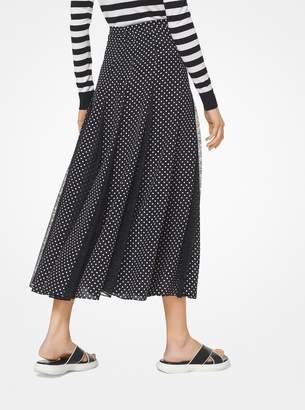 Michael Kors Polka Dot Silk-Georgette and Lace Skirt