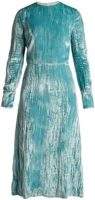 Miu Miu Long-sleeved crystal-embellished velvet dress
