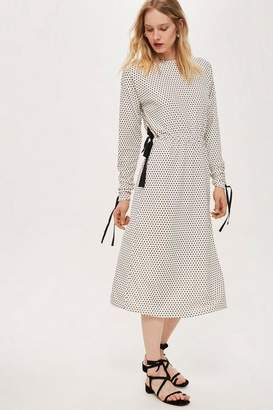 Topshop **Ruched Sleeve Polka Dot Dress by Boutique