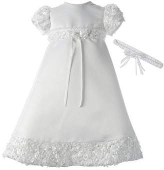 catan Christening Baptism Newborn Baby Girl Special Occasion Satin Dress Gown Outfit With Floral Soutache Trim